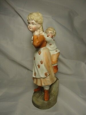 German  9'' Porcelain Bisque Figurine Colonial Boy And Girl Victorian