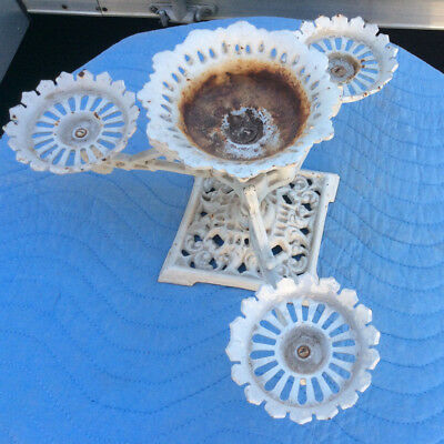 """Vintage Three Arm Cast Iron Plant Holder; Table Top; Japan; Small 8/14"""" H; VGC"""