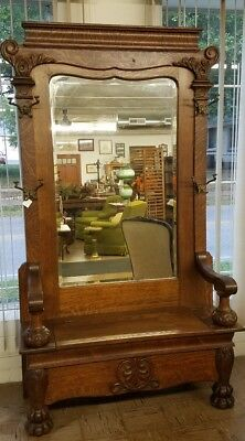 Antique Huge Tiger Oak Hall Tree With Beveled Glass Mirror