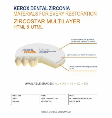 Multi Layer Zirkonrohling Uktra High Translucent for monilitic dentures UTML 14