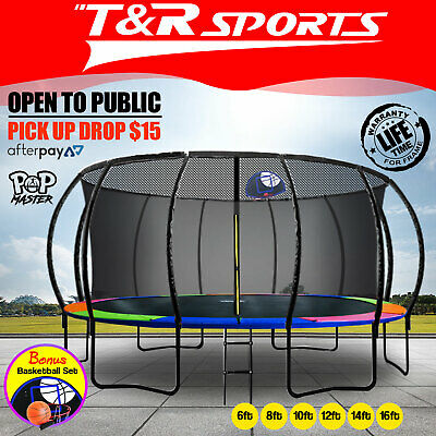 【XMAS SALE】6/8/10/12/14/16FT Curved/Flat Trampoline w/ Safety Net Spring Ladder