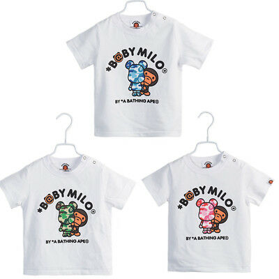 814536411 Kids Boy Girl A Bathing Ape Bape Baby Milo Bear Cartoon Summer Shirt Top Tee