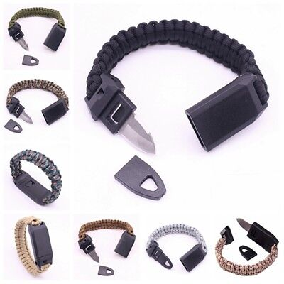 Outdoor Camping Braided Paracord Bracelet Whistle Knife Survival Wrist Strap