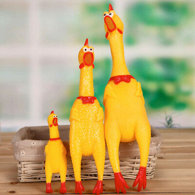 Squeeze Shrilling Screaming Rubber Chicken Pet Dog Bite Toy Squeaker Chewing Toy