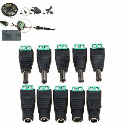 5-20pcs DC 5.5 x 2.1mm Power Male Jack Adapter Cable Plug Connector for CCTV LED