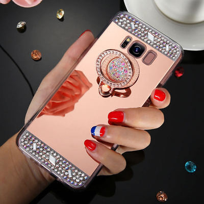 For Samsung Galaxy Note 9 A6 A8 2018 Bling Diamond Ring Holder Mirror Case Cover