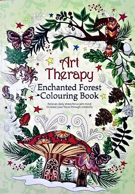 Art Therapy Enchanted Forest Colouring Book Adult Children Relax Calm Creative