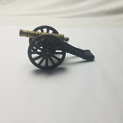 Vintage Civil War Style Brass Barrel Cast Iron Toy Cannon Made In USA Figural