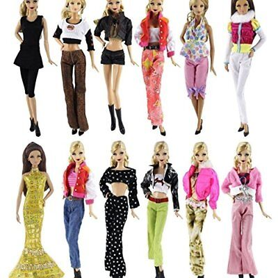 BARWA Lot 20 = 10 Set Fashion Handmade Clothes Outfit + 10 Pairs Shoes for Doll