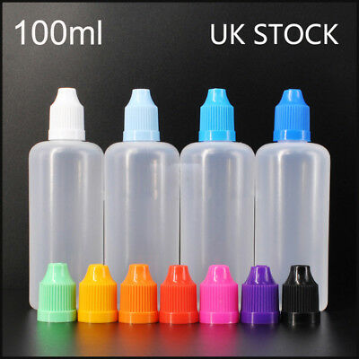 100ML Dropper Bottles Plastic Squeezable Eye Liquid Containers Mixed Color UK