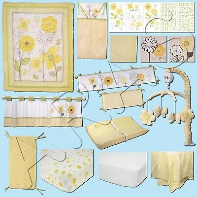 Bright Blossoms 14 Pc.(W/BUMPER & MOBILE) Crib Bedding Set by NoJo (Collection)