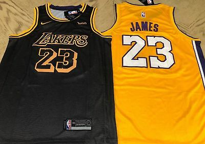 wholesale dealer 8ba5a 90ca6 LEBRON JAMES LAKERS Jersey Los Angeles Home & Away Gold & Black #23 Brand  New