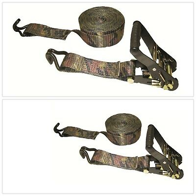 Buckled Strap Padded Camo Ratchet Double J Hooks 10000 lbs. 16 ft. x 2 in. New