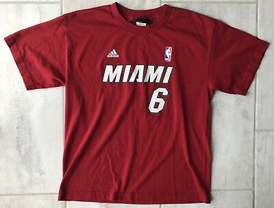 half off af3dc 9aa9a ADIDAS MIAMI HEAT LeBRON JAMES NBA Jersey Shirt YOUTH KIDS BOYS Red XL