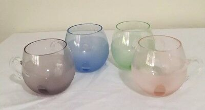 Retro Harlequin Mugs Glasses X Mouth Blown Small Handles Excellent Condition