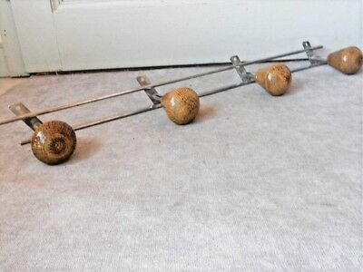 Vintage French chrome mid-century  COAT & HAT RACK HANGER w/ 4 wood pegs hooks