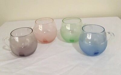 Retro Harlequin Mugs Glasses X Mouth Blown Large Handles Excellent Condition