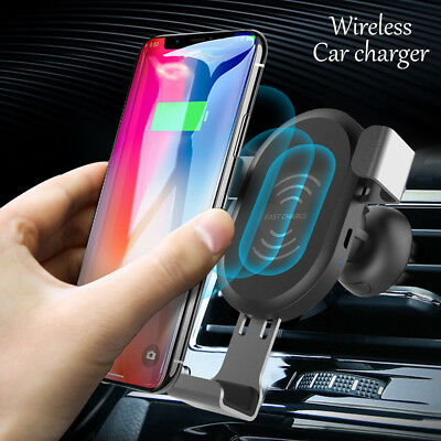 NEW 10W QI Wireless Charger Car Mount Holder For Samsung Note 8 S8 iPhone X 8 P
