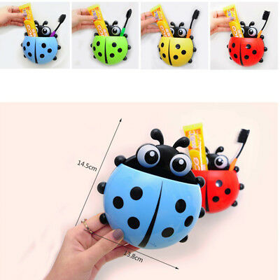 Toothbrush Holder Cute Cartoon Ladybug Suction Cup Toiletries Bathroom Accessory