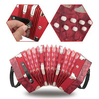 Vintage English Concertina Unisonoric 20 Keys Plastic Instrument & Hexagonal Bag
