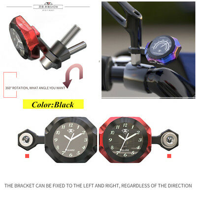 Black T6 Aluminum Motorcycle Luminous Waterproof Clock Watch for Safe Driving