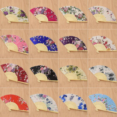 Japanese Style Floral Hand Fans Folding Fan Bamboo Wedding Party Decor Favour