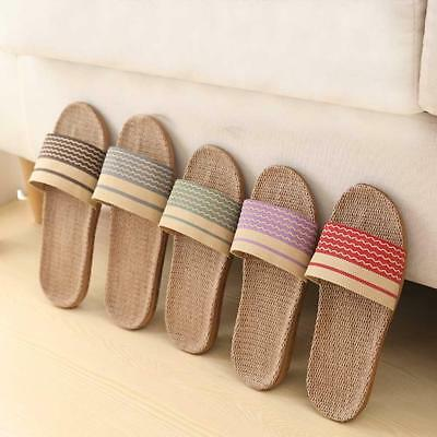 AU Mens Womens Anti-slip Linen Slipper Home Indoor Open Toe Flats Shoes Slippers