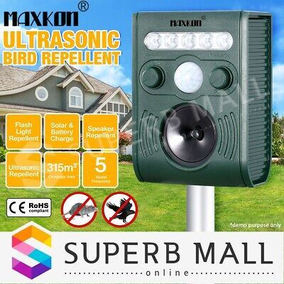 MAXKON Ultrasonic Bird&Animal Repeller Pest Repellent  w/Large Solar Power Plate