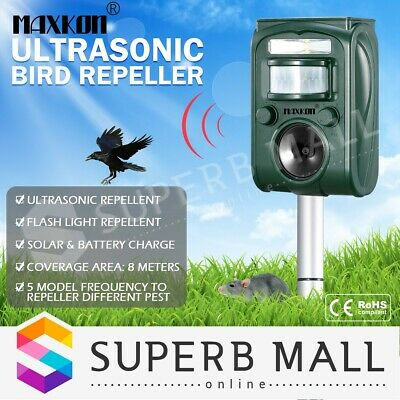 Ultrasonic Bird Animal Repellent Solar Powered Pest Repeller w/LED Indicator