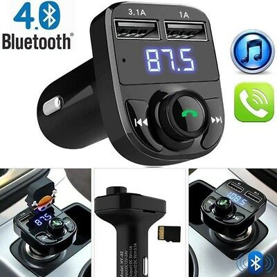 Bluetooth Car Kit FM Transmitter Wireless Radio Adapter USB Charger MP3 Player A