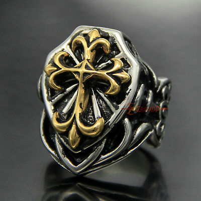 Large Vintage Silver Gold Classic Crusader CROSS Shield Stainless Steel Ring