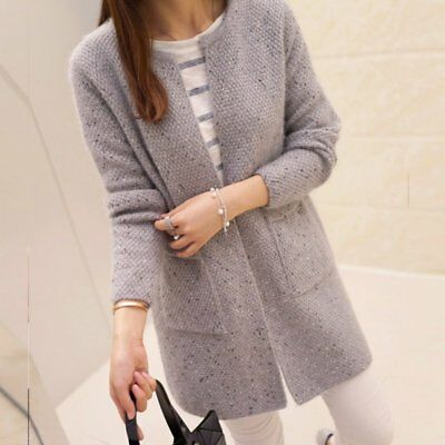 AU Women Loose Knitted Sweater Coat Lady Long Sleeve Cardigan Warm Casual Jacket