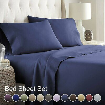 Bed Sheets Set 4 Pieces Pillowcase1000TC Flat and Fitted Full Queen King Size AU