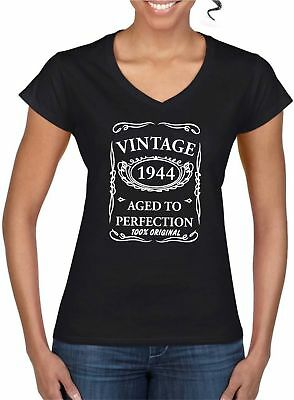19f75b61 75th Birthday Present Gift Year 1944 Vintage Aged Womens V Neck Ladyfit  TShirt