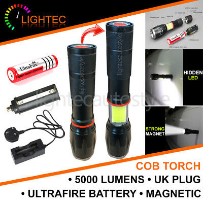 5000Lm Cree T6 Led Torch Magnetic Rechargeable Uk Plug Ultrafire 18650 Battery
