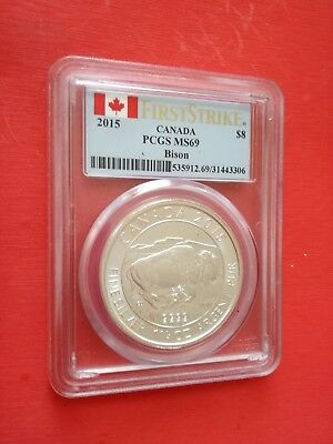2015 Canada Bison PCGS MS69 1-1/4 Oz Fine Silver $8 Coin Flag Label FIRST STRIKE
