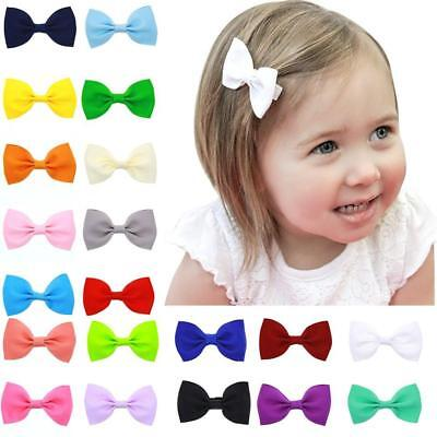 20Pcs Hair Bows Band Boutique Alligator Clip Grosgrain Ribbon For Girl Baby LH