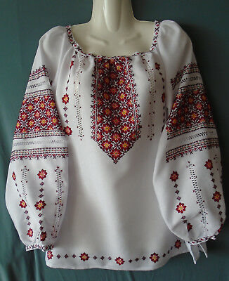 Ukrainian Hand Embroidered Women's blouse, Size 2XL, homespun linen,  Ukraine