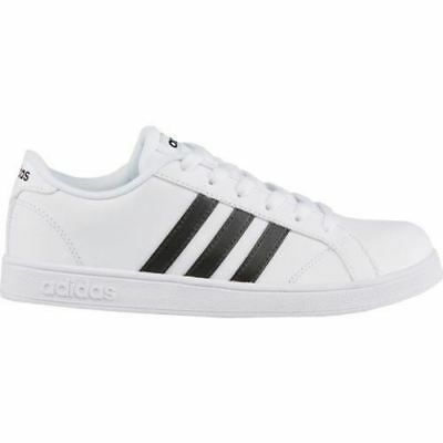 adidas Baseline Kids Boys White/Black Shoes Sneakers Leather Casual Brand New