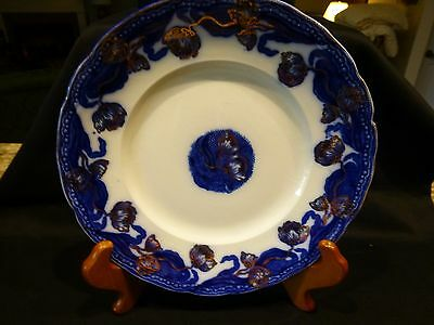 """New Wharf Pottery  9"""" Flow Blue Luncheon Plate Geneva with Gold Overlay England"""