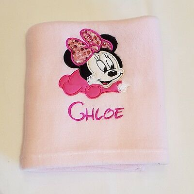 Personalised Baby Minnie Mouse Fleece Blanket  Any Name Disney Embroidered Gift