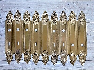 French Vintage Antique Gilt Tolewear Door Finger Plates Back Plates X9 Fabulous