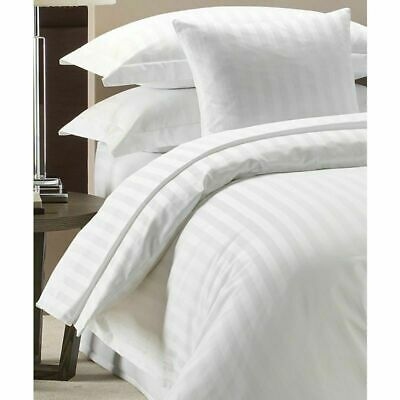 100% Luxury Hotel Quality Poly-Cotton Satin Stripe Duvet Cover Set - All Sizes