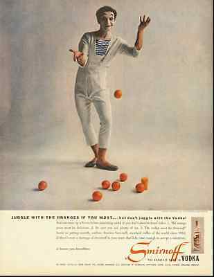 1950s vintage ad for Smirnoff Vodka, Marcel Marceau  -071312