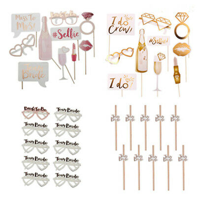 Hen Party Team Bride To Be Photo Booth Props Wedding Straws Glasses Accessories