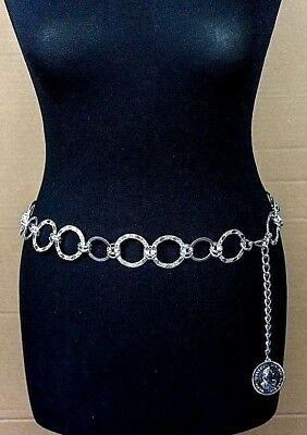 Vintage Silver Chain Link Waist Belt with Coin Medallion Charm