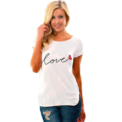 Womens T-Shirt Ladies Letter Printed Short Sleeve Summer Casual Top one