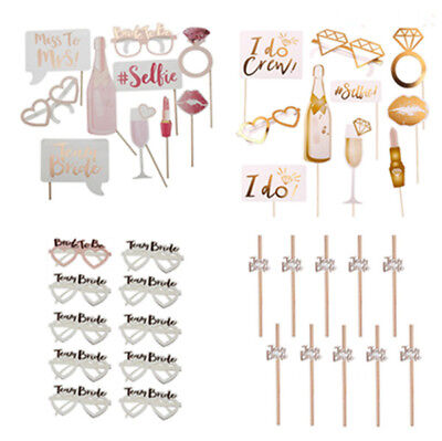Wedding Hen Party Team Bride To Be Photo Booth Props Straws Glasses Accessories