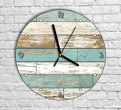 Old Shabby Wood Planks - Round Wall Clock For Home Office Decor