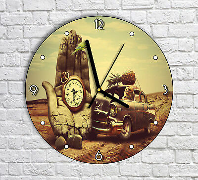 Vintage Car Hand Artwork - Round Wall Clock For Home Office Decor